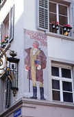 Old house with fresco in Lucerne — Stock Photo