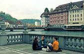 Lucerne city view with river Reuss, Switzerland — Stock fotografie