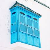 Old House with blue balcony, Sidi Bou Said, Tunisia — Foto Stock