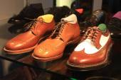 Classic leather shoes in a shop — 图库照片