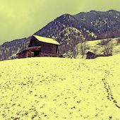 горы альп в зиму, эффект instagram — Стоковое фото