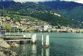 Lake Geneva, Alps mountains and view of Montreux — Stock Photo