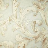 Vintage grey victorian wallpaper with beige baroque vignette — Stock Photo