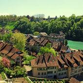 Tile roof of Bern and Aare river(Switzerland) — Foto de Stock
