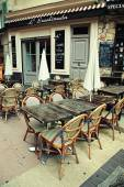 Outdoor french traditional cafe,  Nice, French Riviera, France  — Stock Photo