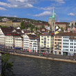 Limmat river and historic building in Zurich, Switzerland — Stock Photo #63166301