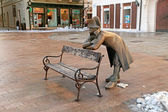 Bench with bronze sculpture of Napoleon, Bratislava, Slovakia — Stock Photo