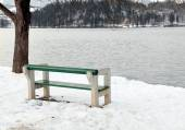 Empty bench on Lake Bled, Slovenia — Stock Photo