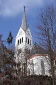 Saint Martin Church at Lake Bled, Slovenia. — Stock Photo
