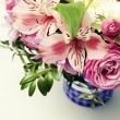 Beautiful pink bouquet with astrantia, fresia, rose, ranunculus — Stock Photo #73134153
