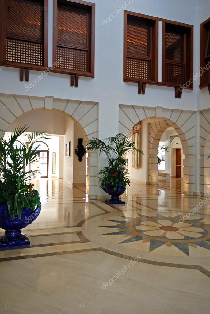 Grand Foyer Flooring : Grand foyer with marble floor in luxury hotel resort