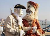 Costumed people in Venetian mask during Venice Carnival — Stock Photo