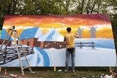 Street painters graffiti, Kiev, Ukraine — Fotografia Stock