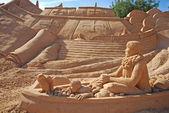 Spanish fregat large sand sculpture, Algarve, Portugal. — Stock Photo