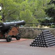 Cannon and cannon balls near Royal Palace in Monaco — Stock Photo #77673040