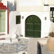 Traditional houses with green doors in Oia, Santorini island — Stock Photo #80276726