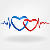 Two hearts. Heartbeat design — Stock Vector