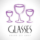 Glasses of wine or champagne — Stock Vector