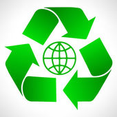 Green recycle symbol. Globe vector. — Stock Vector