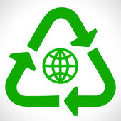 Green recycle symbol. Globe vector. — Stock Vector