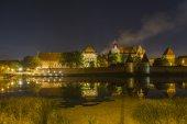 Malbork castle  at night, Poland — 图库照片