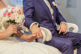 Wedding theme, holding hands — Stock Photo