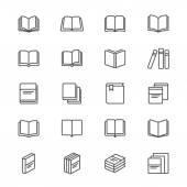 Iconos delgado libro — Vector de stock