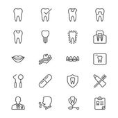 Dental thin icons — Stok Vektör