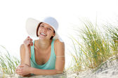 Smiling young woman with sun hat — Stock Photo