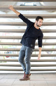 Male fashion model posing outdoors — Stock Photo