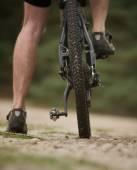 Rear view low angle man legs on mountain bike — Stock Photo