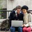 Happy young couple sitting on a bench and looking at laptop — Stock Photo #61368399