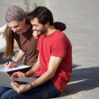 Male and female students sitting outdoors looking at laptop — Stock Photo #61418767