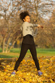 Young woman stretching muscles exercise workout — Stock Photo