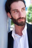 Cool erkek moda modeli sakallı — Stok fotoğraf