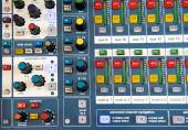 Buttons and knobs on stereo audio mixer — Stock Photo