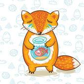 Cartoon fox with a little fish in aquarium. Vector illustration card — ストックベクタ