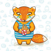 Cartoon fox with a little wooden toy ship. Vector illustration card — ストックベクタ