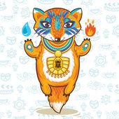 一卡通埃及只狐狸矢量插图海报 — 图库矢量图片
