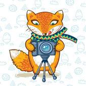 Cartoon photographer fox. Vector illustration card — ストックベクタ