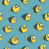 Funny seamless pattern with fish — Stock Vector
