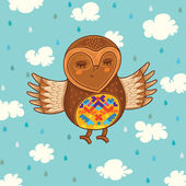 Cute cartoon owl flying in the sky. Sweet vector background — ストックベクタ