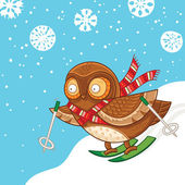 Cute cartoon owl skiing and having fun. Merry Christmas card — Stock Vector