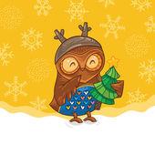 Cute cartoon owl with green tree. Happy holidays card — ストックベクタ