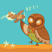 Cute cartoon owl with wooden toy airplane — ストックベクタ