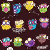 Seamless pattern with color owl — Stock Vector