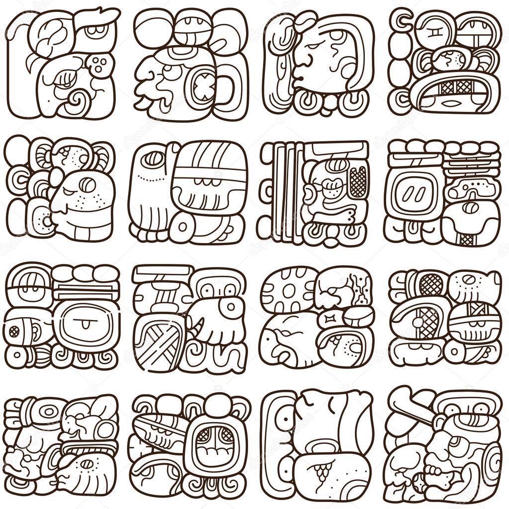 seamless pattern with written symbols of the maya � stock