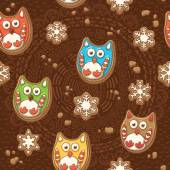 Vector Christmas Gingerbread. Ginger cookies pattern with owls — Stock Vector
