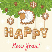 Šťastný nový rok jako perník cookies — Stock vektor