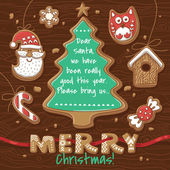 Vector Illustration of gingerbread cookies. Christmas greeting card — Stock Vector